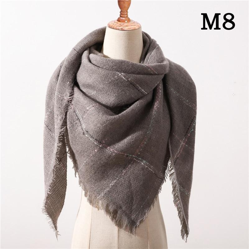 Женский зимний шарф в ретро стиле, кашемировые вязаные пашмины шали, женские мягкие треугольные шарфы, бандана, теплое одеяло, новинка - Цвет: M8
