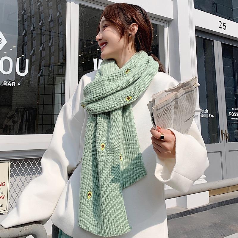 Brand Scarf Avocado Scarf Women Winter Korean Edition Knitting Versatile Thickened Warm Student Shawl Ins Girl Autumn Winter Bib