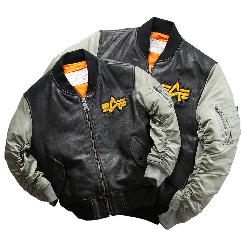AH138 US Air Force Flight Pilot Goat Leather Jacket Genuine Goat Leather Rider Jacket Family Looking Clothing Parent & Son Dress