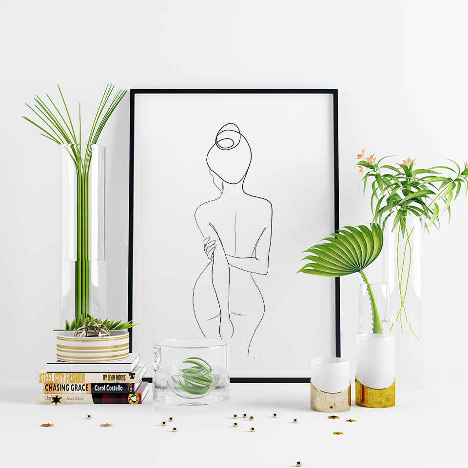 Abstract Line Poster  Nordic Canvas Painting Women Wall Art Pictures For Living Room Modern Decorative Prins On The Wall Unframe
