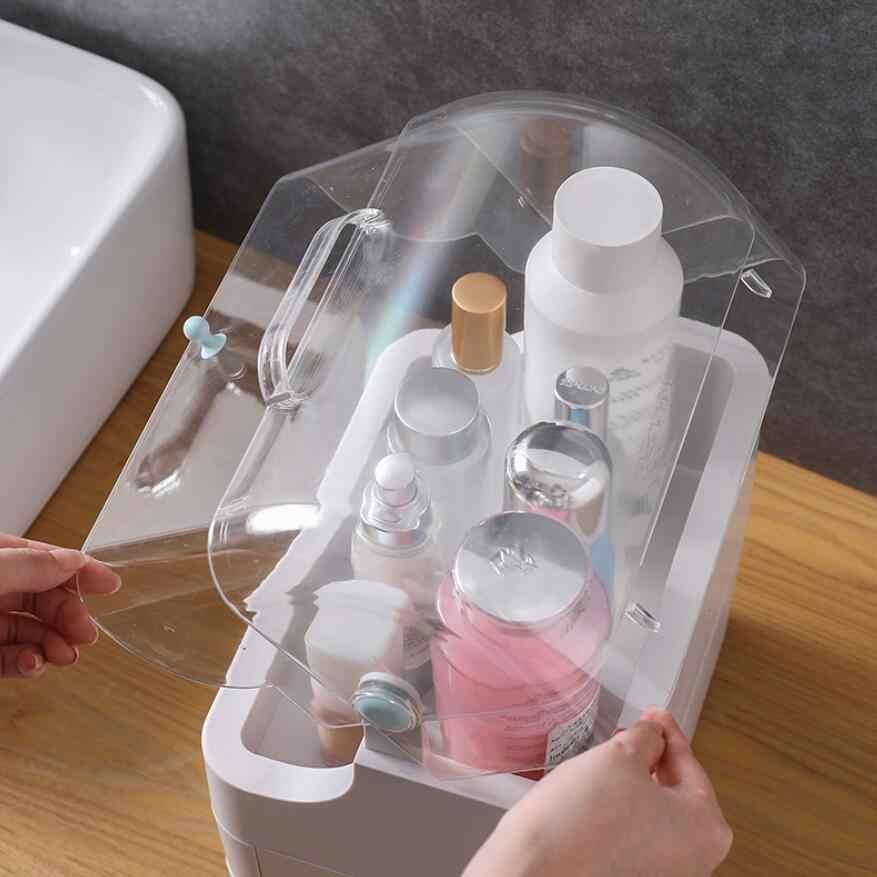 Nuevo organizador de maquillaje cajones de plástico caja de almacenamiento de cosméticos contenedor de joyería estuche de maquillaje soporte de brochas organizadores