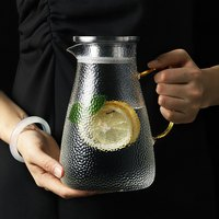 2l nórdico conciso copo jarro de água suco limonada jarro flor bule de chá quente/fria jarro de água à prova de calor vidro transparente bule|Bules| |  -
