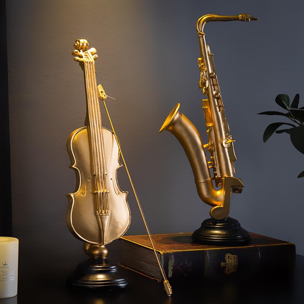 Modern Home Decoration Violin Figurines Sax Statuettes Accessories Desk Office Decor Resin Musical Instrument Model Decorative