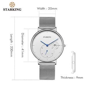 Image 5 - STARKING פשוט שעונים גברים פלדה אל חלד כסף Mesh להקת שעון זכר קוורץ שעוני יד עם תאריך אוטומטי תצוגת Relogios 3ATM