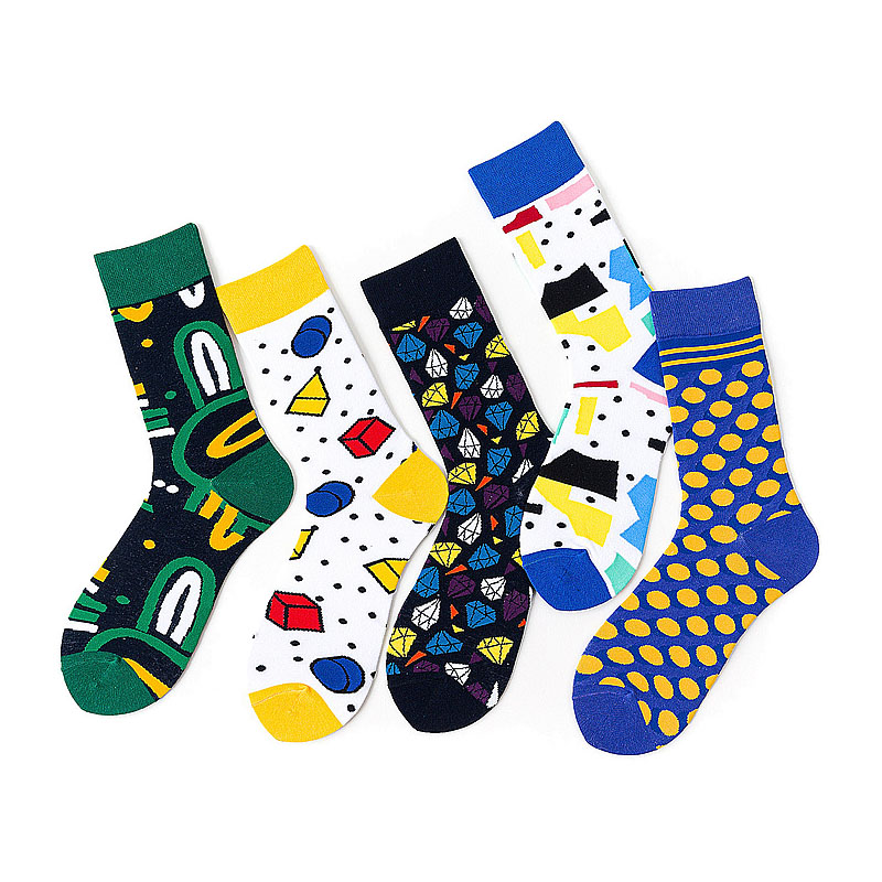 Hot Sale Classic Autumn Winter Socks Mens Personality Cartoon Geometric Socks Diamond Happy Hip-Hop Dot Abstract Socks Gift