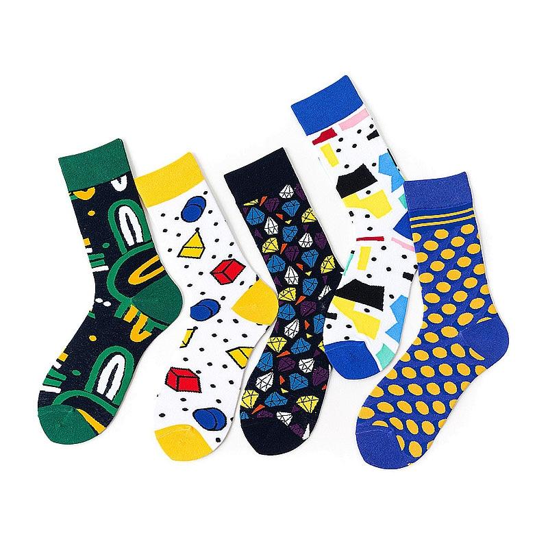 Hot Sale Classic Autumn Winter Socks Mens Personality Cartoon Geometric Socks Diamond Happy Hip-Hop Dot Abstract Socks Gift