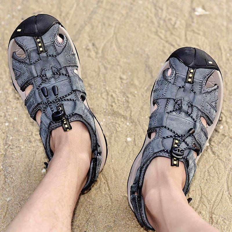 Yaz Ayakkabı Erkekler Sandalet Hakiki Deri rahat ayakkabılar Kaliteli Tasarım Açık plaj sandaletleri Roma Su Ayakkabı Büyük Boy 38-46