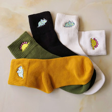 Cartoon Socks Women Cute Creative Dinosaur Embroidery Cotton Funny Monster Hot Lovely