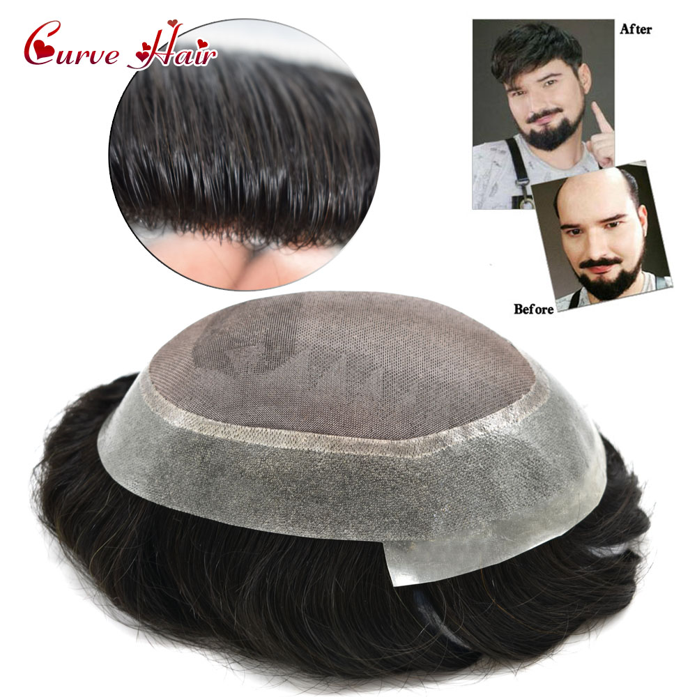 Fine Mono Mens Toupee Clear Poly Remy Hair System All Hand Tied Light  Medium Density Black Hair Transparent Replacement Ts-1