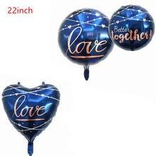 4 pçs 22 polegada royalblue amor balões folha coração forma hélio balão decoração de casamento globos dia dos namorados presente casamento deco