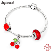 STEP FORWARD 925 Sterling Silver Red Cherry Charms Bracelet Bangle for Women Silver Jewelry Red Apple Charm Bangles