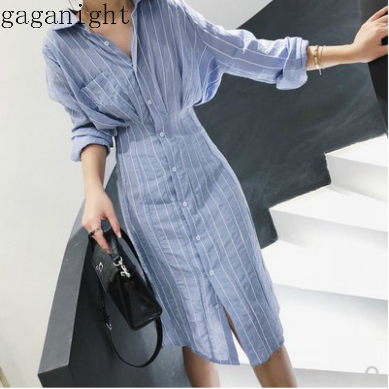 Gaganight Autumn Elegant Women Shirt Dress Blue Striped Long Sleeves Single Breasted Maxi Dresses Office Ladies Slim Korean Chic