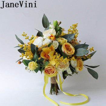 JaneVini Silk Flower Yellow Bouquet for Brides Artificial Outside Wedding Bunch of Flowers Bridal Bouquets Rose Leaf Flores Boda seven silk cloth sunflowers in bunch stylish ornaments decorations yellow green