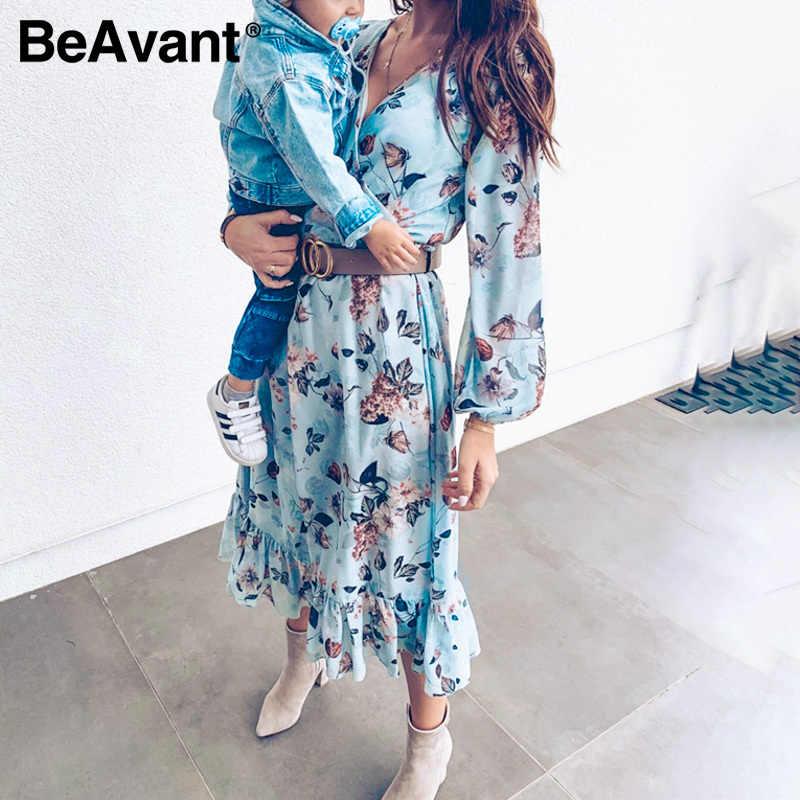 Beavant ブルー長袖女性のドレス花柄ヴィンテージドレスフリル女性夏休みカジュアルドレス vestidos 2020