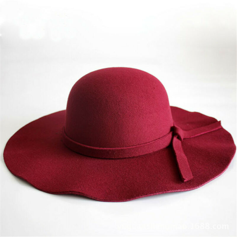 Vintage Women Floppy Wide Brim Wool Felt Bowler Hat Summer Sun Caps