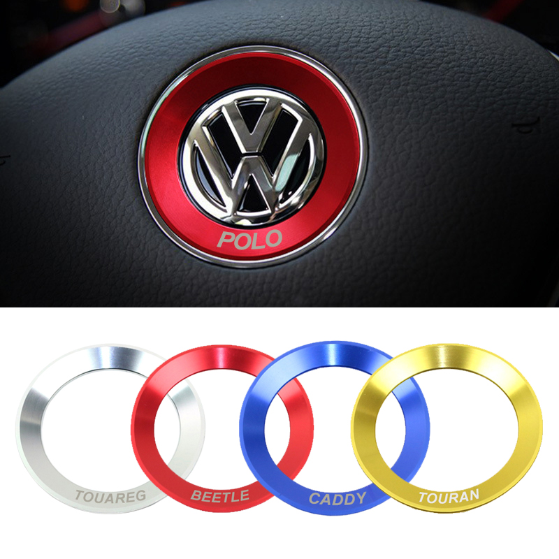 Anneau pour coque de volant de style de voiture pour Volkswagen VW POLO coccinelle TOURAN TOUAREG accessoires de couverture d'autocollant de décoration de caddie
