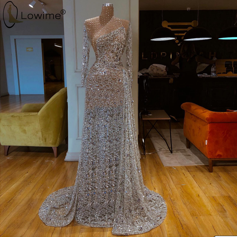 See Through High Neck Long Sleeve Muslim Evening Dress Mermaid Glitter Formal Dress Middle East Long Robes Kaftan вечернее плат