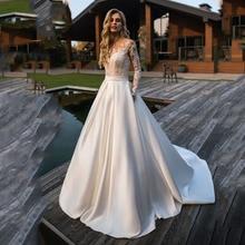 לורי חתונה שמלת 2019 ארוך שרוולים חוף הכלה שמלת אפליקציות תחרה סקסי לראות דרך חזרה לבן שנהב שמלת כלה