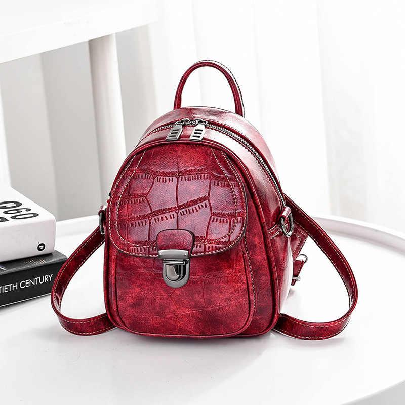 Аллигатор шаблон Мини Мягкий сенсорный многофункциональный маленький рюкзак женский новый модный женский рюкзак сумка на плечо кошелек для девочек