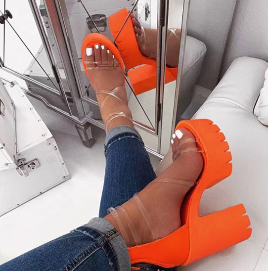 2020 Office Spring Lace Up High Heels Women Fashion High Heels Square Heels Platform Sandals Party Wedding  Zapatos De Mujer