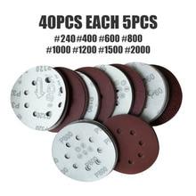 4 Teile/satz Aluminium Oxid 5inch 125mm 8 Loch Schleifen Discs Runde Polieren Schleifpapier 240-2000 Grit Schleif disc