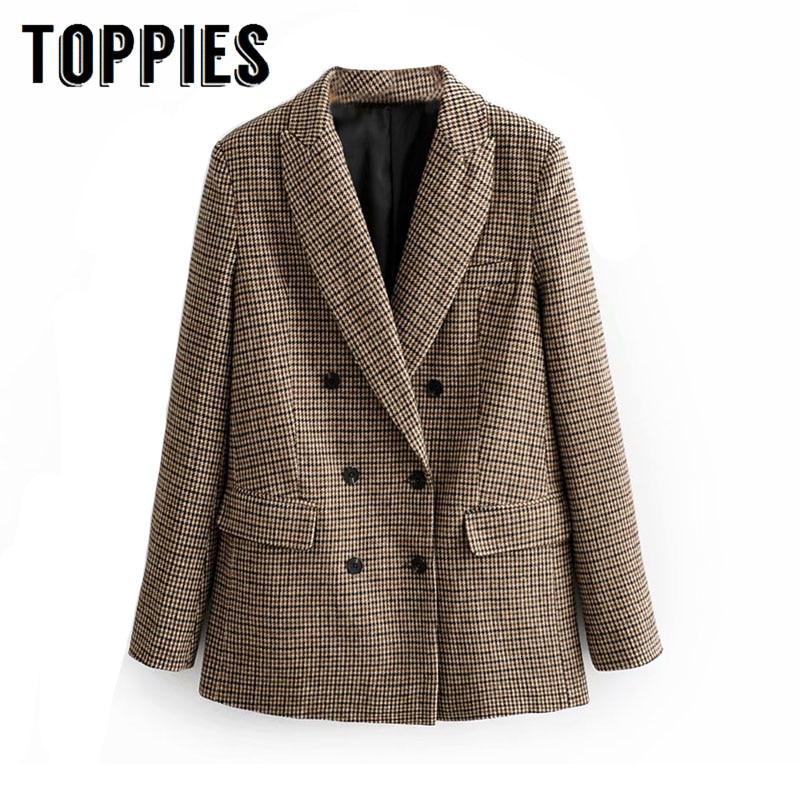 2019 Winter Woolen Lattice Suit  Jacket Ladies Office Blazer Double Breasted Loose Coat European Women Clothing