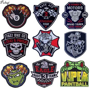 Knight Badge Skull Punk Embroidered Patches For Clothing Motorcycle Biker Iron On Patches On Clothes Stickers Stripe On Jacket image