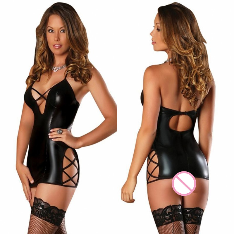 Pole Dance Sexy Costumes Exotic Lingerie Sexy Hot Erotic Dress For Women Faux Leather Baby Dolls Sexy Underwear Sex Clothes