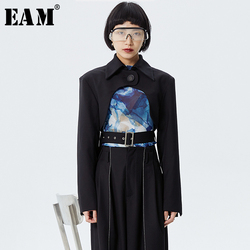 [EAM] Loose Fit Black Hollow Out Split Joint Short Jacket New Lapel Long Sleeve Women Coat Fashion Tide Spring 2020 1S973