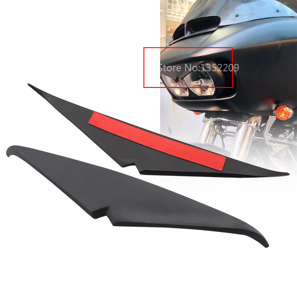 Motocicletas farol sobrancelha pálpebra adesivo farol ponta superior guarnição capa viseira acento para harley 15-up estrada desliza modelos