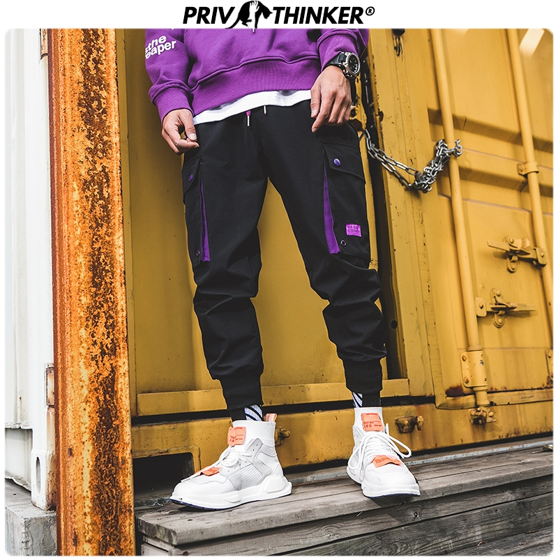 Privathinker Men Cargo Pants 2020 Safari Style Joggers Men's Hip Hop Casual Harem Pants Streetwear Spring Vintage Male Trousers
