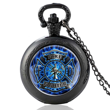 High Quality Vintage Fire Control Firemen Glass Dome Quartz Pocket Watch Classic Men Women  Necklace Pendant Gifts