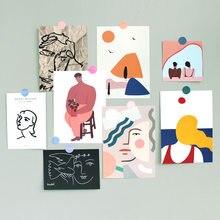 Ins nordic retro decoratiove cartão 3 folhas arte abstrata clássica mini cartaz quarto adesivo de parede criativo ilustração cartão postal
