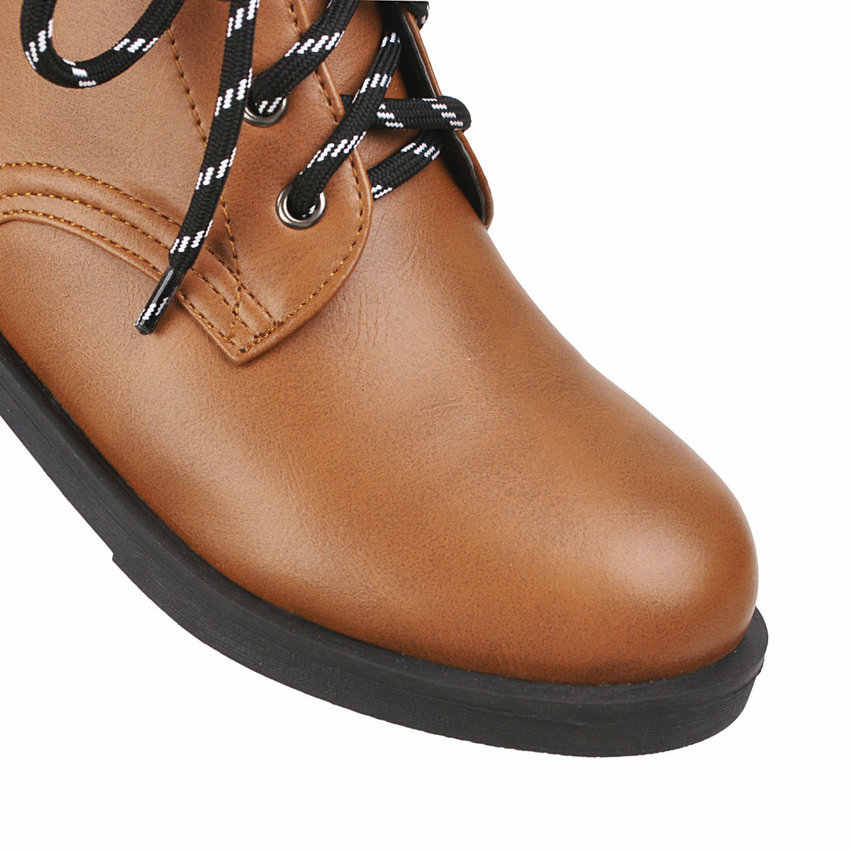 ESVEVA 2020 kare düşük topuk sonbahar kış rahat yarım çizmeler PU deri yuvarlak ayak dantel kadar tüm maç kadın ayakkabı büyük boyutu 34-43