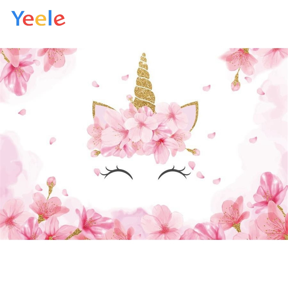 Yeele Pink Flower Unicorn Backdrop Newborn Baby Shower Kids Children Birthday Party Photography Background For Photo Studio in Background from Consumer Electronics