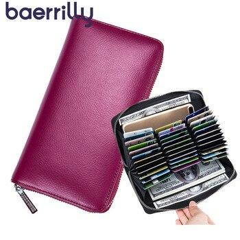 Cartera de bloqueo RFID de cuero genuino antirobo 36 portatarjetas carteras de mujer con funda de teléfono bolsos de embrague monedero de chica