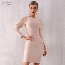 Adyce 2020 Mới Mùa Đông Nữ Phối Ren Băng Đô Đầm Lưới Hoa Vestidos Ôm Body Sang Trọng Người Nổi Tiếng Đầm Dự Tiệc Sexy Màu Đen Tay Dài Câu Lạc Bộ Đầm