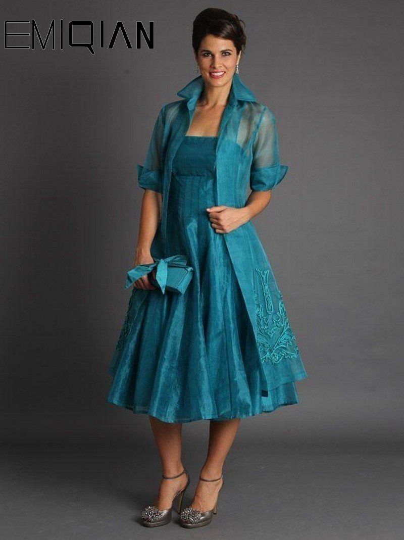 New 2 Pieces Plus Size Short Mother Of The Bride Jacket Dresses Half Sleeve Tea Length Suits Evening Gowns Organza