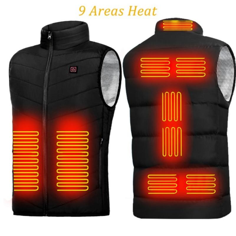 9 Areas Vest Jacket USB Men Winter Electric Heated Sleeveless Jacket Outdoor Sports Skiing Climbing