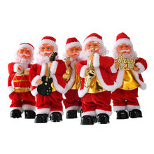 Christmas Toys Creative Decoration Kid Electric Music Instrument Toy Santa Light funny Musical Toy Cartoon Guitar Plush Toy Gift(China)