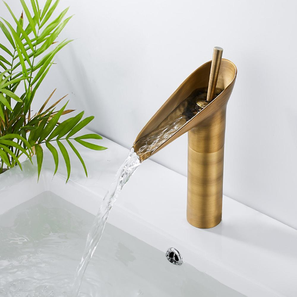 Brass Waterfall Bathroom Sink Faucet Vessel Tall Bamboo Water Tap Retro Single Lever Waterfall Hole Basin Faucets Mixer Taps
