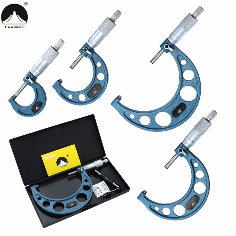 Outside Micrometer 0-25mm/50mm/75mm/100mm/0.01mm Micrometer Screw Carbide Alloy Measuring Tool Caliper Gauge