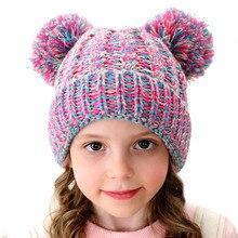 Детские шапочки с биркой, зимняя шапка в европейском и американском стиле, шерстяная шапка с плетением, милая вязаная шапка с помпонами для девочек