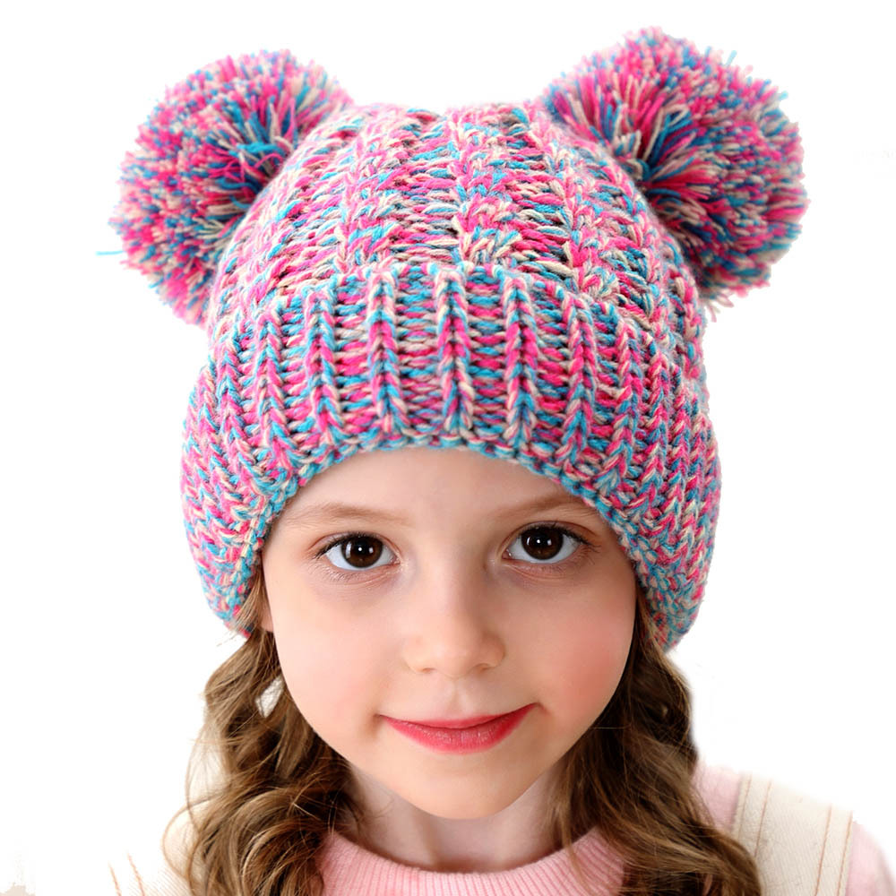 Children's Beanies With Tag Think Winter Hat Europe And America Wool Hat Twist Braided Cute Girl Hair Ball Knit Hat