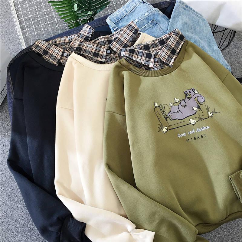 Cute Bear oversized Kawaii women sweatshirt fashion pullovers ladies plus size tops hoodie casual ladies korean style streetwear 2