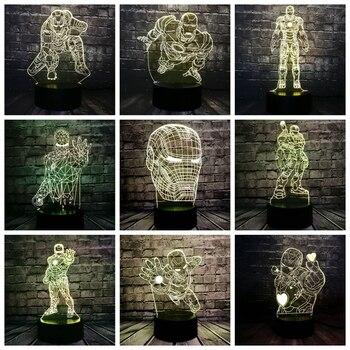 8 вариантов 3D лампы Железный человек Декор LED Bulbing ночные светильники Иллюзия красочный градиент спальня стол Мальчики фестиваль подарки на ...