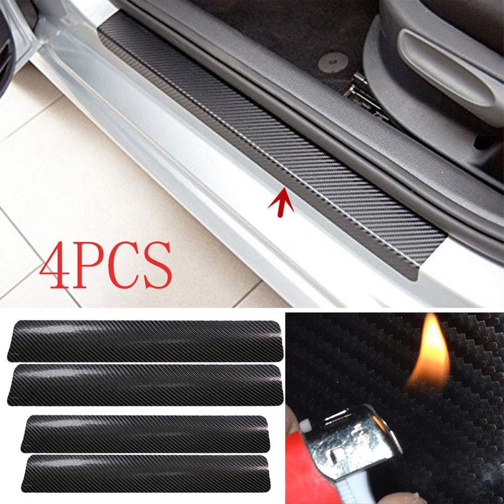 4 pièces/ensemble 3D en Fiber de carbone seuil de porte de voiture seuil de protection anti-rayures Film autocollant