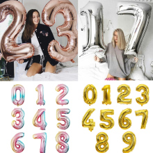 Number Balloon Party-Decorations Gold-Sliver Baby Shower Rose-Gold Birthday Wedding Big-Size