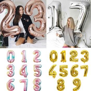 Большой размер, золотые, серебряные, розовые, золотые цифры, воздушные шары для дня рождения, свадьбы, вечеринки, Детские шары