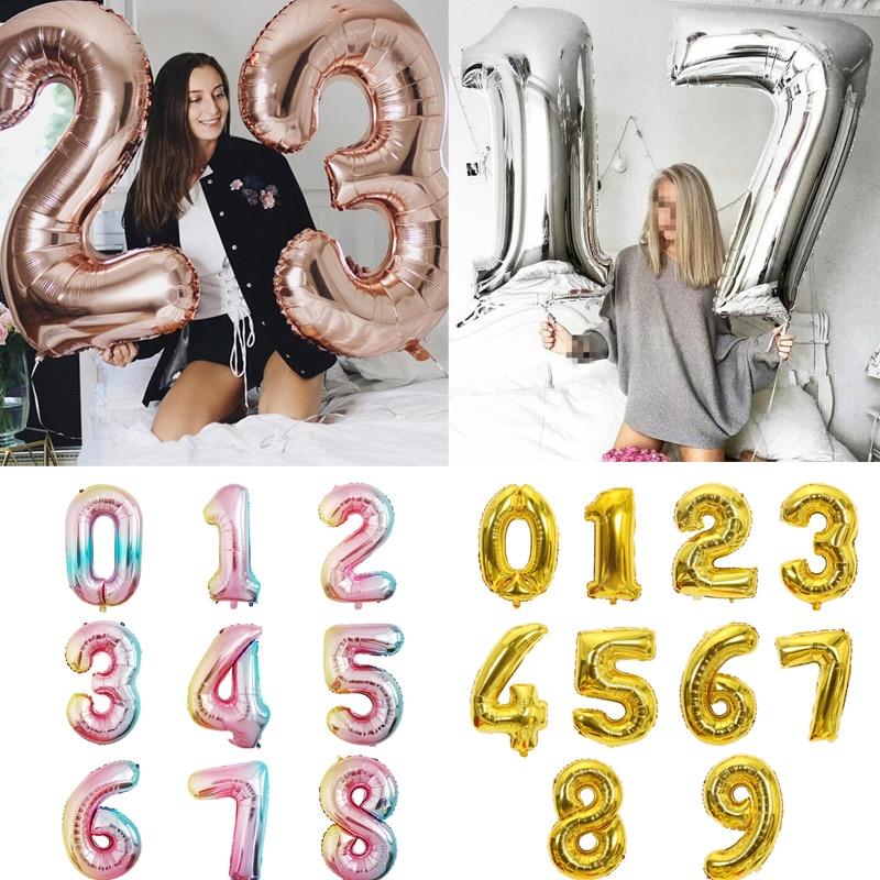 Большой размер, золотые, серебряные, розовые, золотые цифры, воздушные шары для дня рождения, свадьбы, вечеринки, Детские шары-0